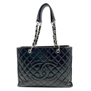 Grand Shopping Tote Quilted Gst Black Patent